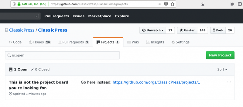 GitHub new project