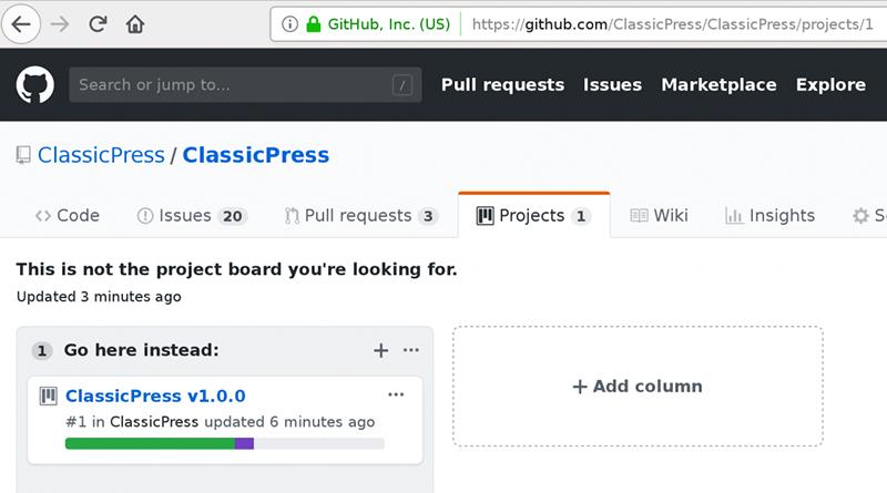 GitHub project board