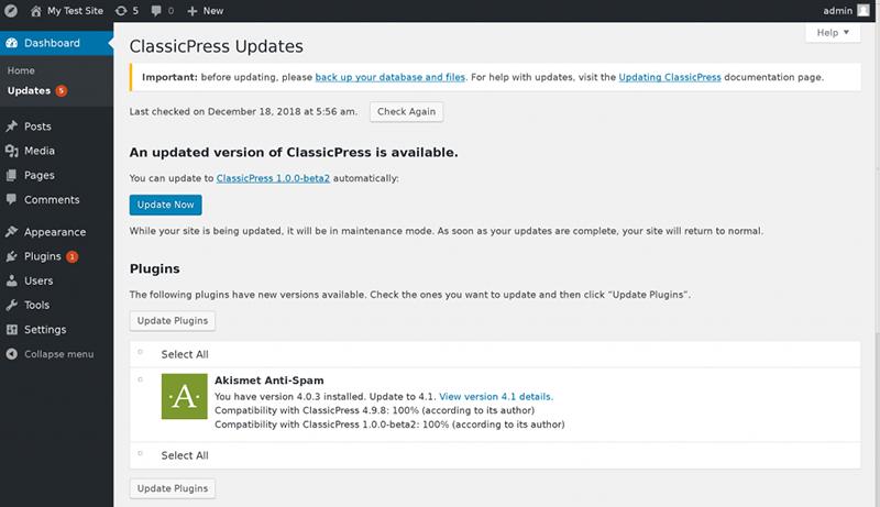 ClassicPress beta