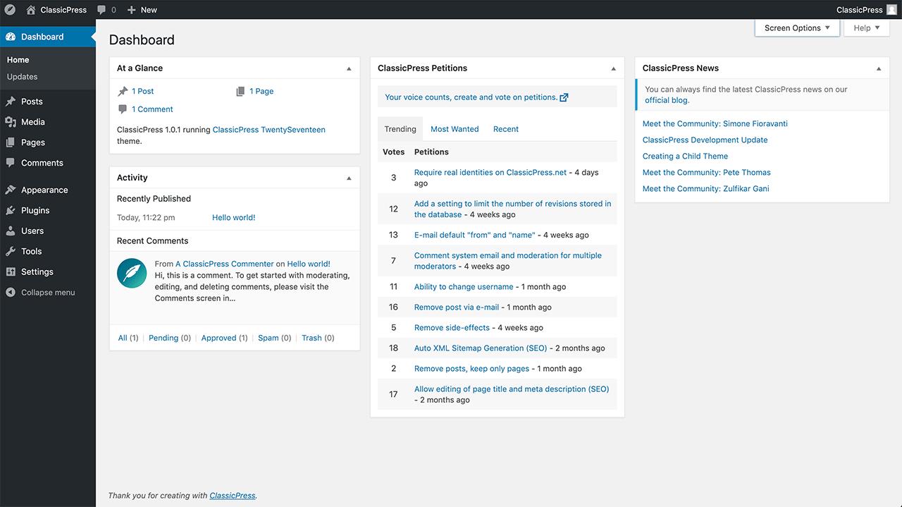 ClassicPress edit post screen