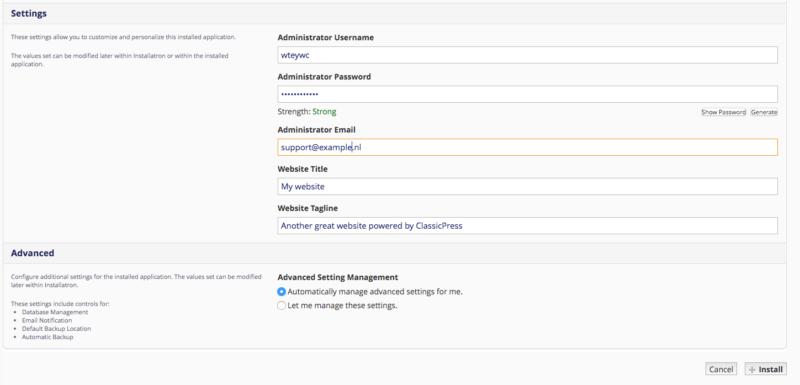 Installatron website settings page