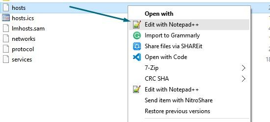 Edit hosts windows