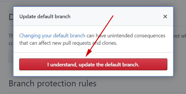 GitHub Update Default Branch