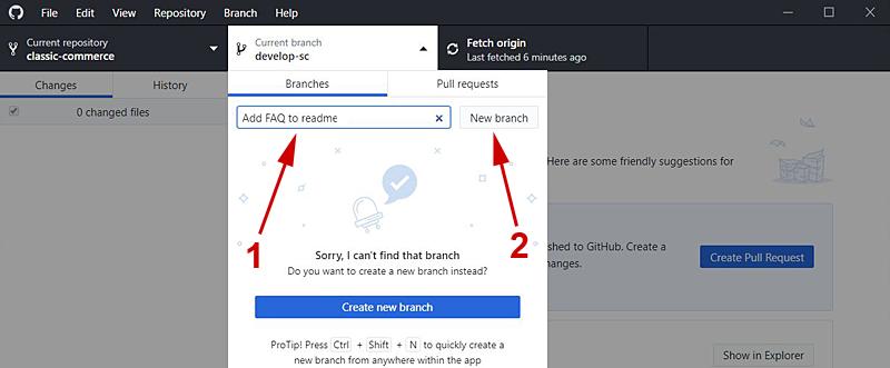 GitHub Desktop New Branch