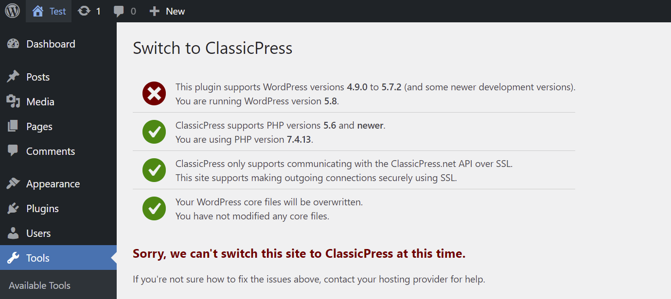 migration plugin does not support your current WordPress version