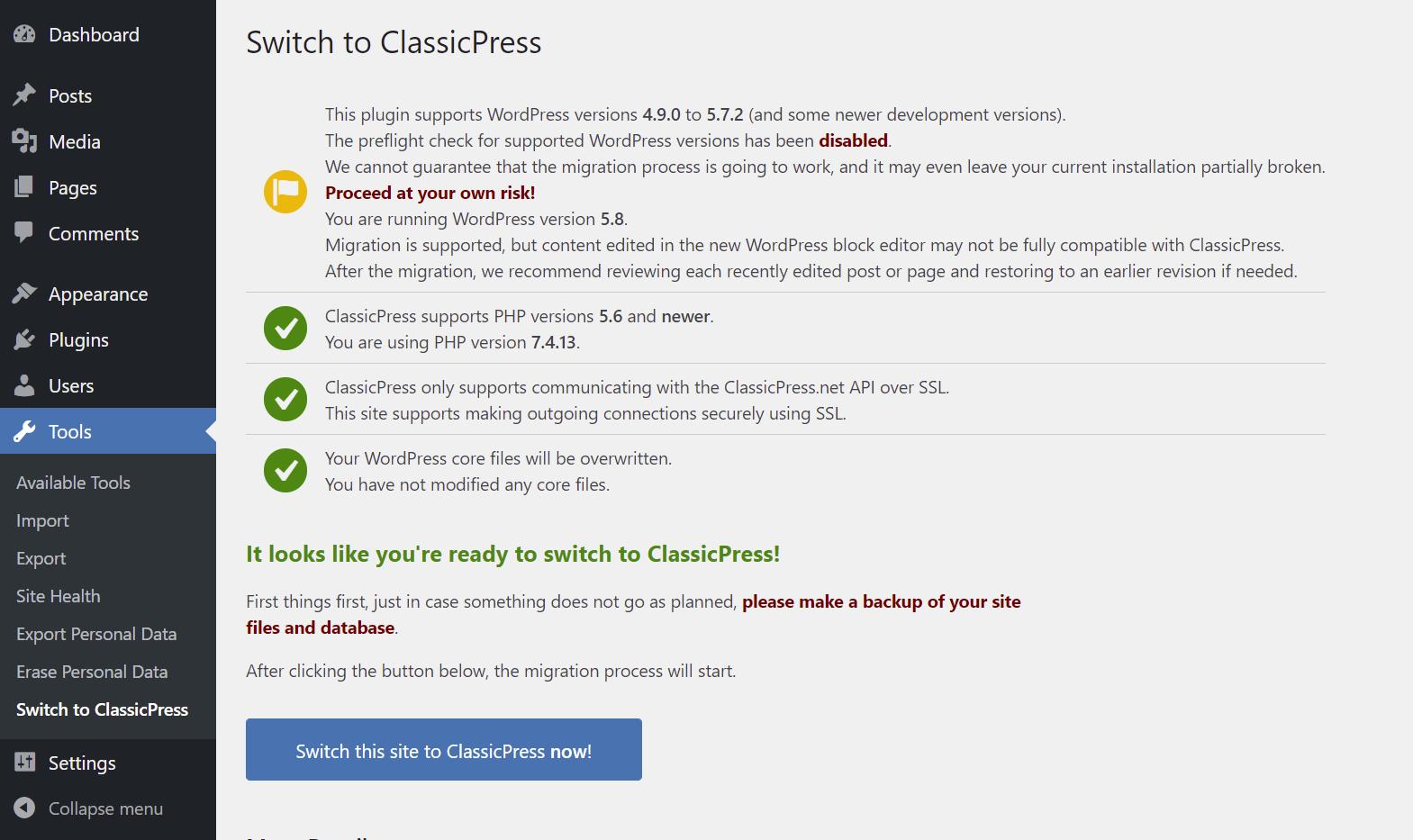 Switch to ClassicPress plugin migration screen
