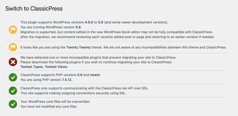 Migrating to ClassicPress - the Compatibility check