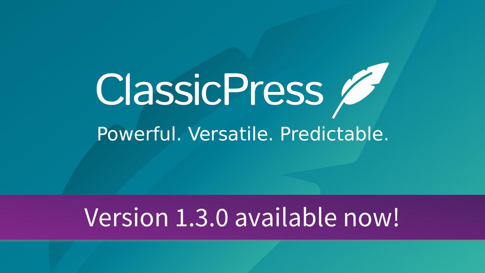 ClassicPress Release Banner V1.3.0